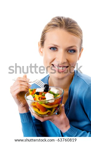 Happy smiling woman with salad, isolated on white