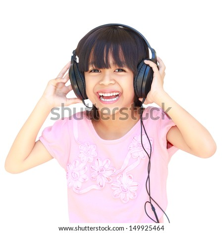 Happy smiling young asian girl in headphones, Isolated over white - stock photo