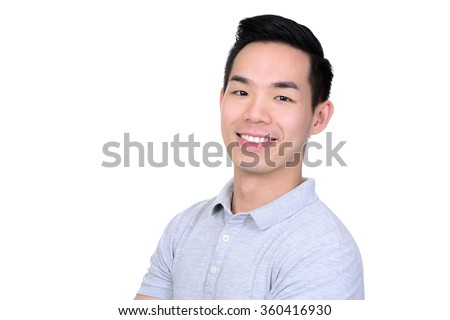Happy smiling young Asian man - isolated on white background - stock photo