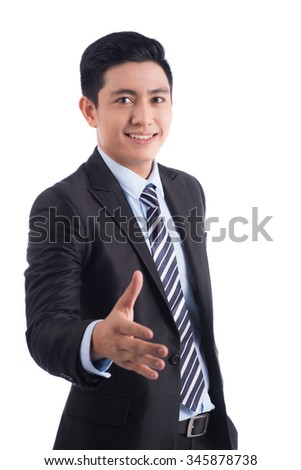 Happy smiling young Asian man show thumb isolated on white background. Successful business man isolated on white background. - stock photo