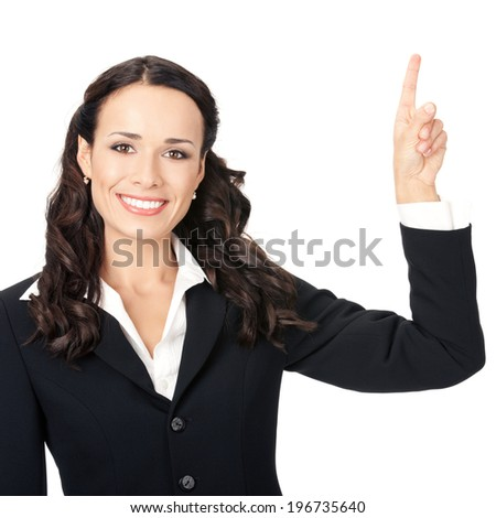 Happy smiling young beautiful business woman showing something or copyspase for product or sign text, isolated over white background - stock photo