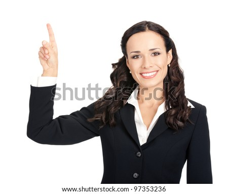 Happy smiling young beautiful business woman showing something or copyspase for product or sign text, isolated over white background