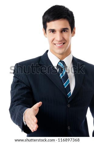Happy smiling young business man giving hand for handshake, isolated over white background