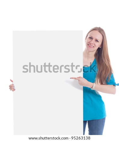 Happy smiling young business woman showing blank signboard, isolated on white background