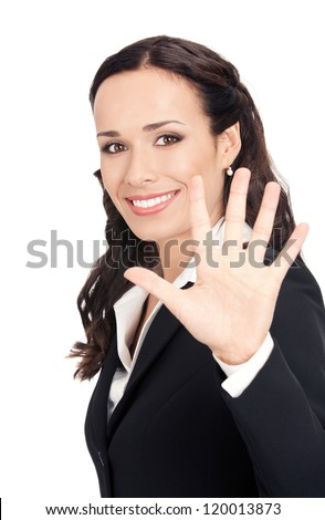 Happy smiling young business woman showing five fingers, isolated over white background