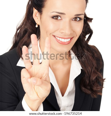 Happy smiling young business woman showing three fingers, isolated on white background