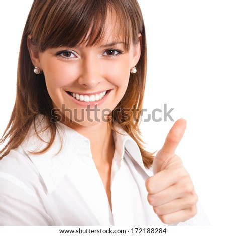 Happy smiling young business woman showing thumbs up gesture, isolated over white background - stock photo