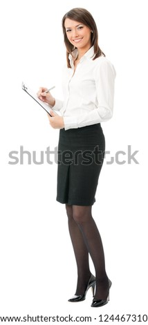 Happy smiling young business woman with clipboard writing, isolated on white background - stock photo