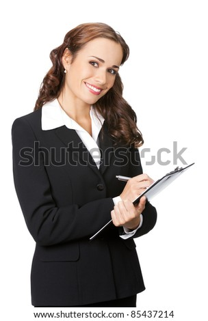 Happy smiling young business woman with clipboard writing, isolated on white background
