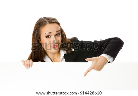 Happy smiling young businesswoman showing blank signboard, isolated on white background. Success in business concept.