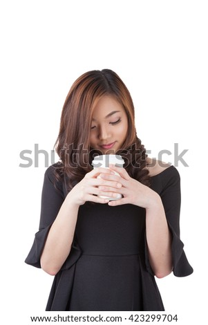 Happy smiling young businesswoman with coffee from disposable cup. Beautiful mixed asian / caucasian model. Isolated white background. have clipping paths - stock photo