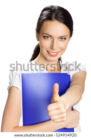 Happy smiling young businesswoman with thumbs up gesture, isolated on white background
