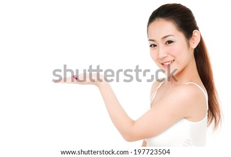 happy smiling young girl with pretty face with hand gesture