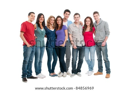 Happy smiling young group of friends standing together isolated on white background - stock photo