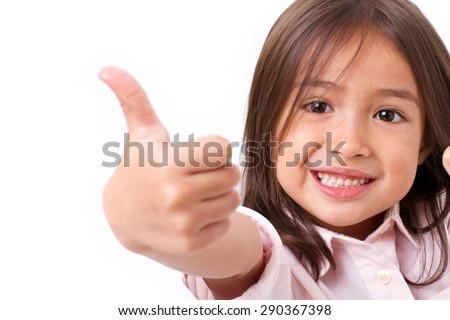 happy, smiling young little girl giving thumb up gesture, isolated - stock photo