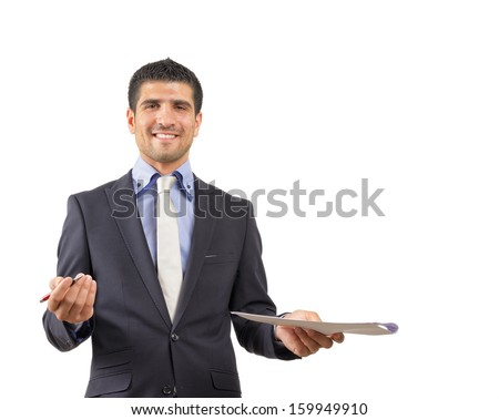 Happy smiling young person ready to sign a job contract isolated on white - stock photo