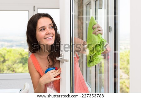 Happy smiling young woman cleaning windows using atomizer indoor  - stock photo