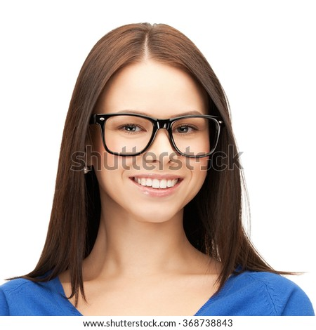 happy smiling young woman face in glasses