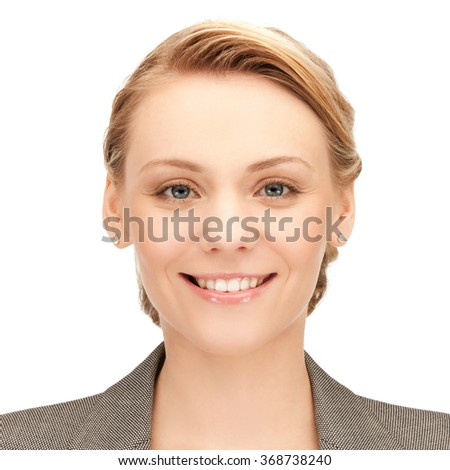 happy smiling young woman face or portrait - stock photo
