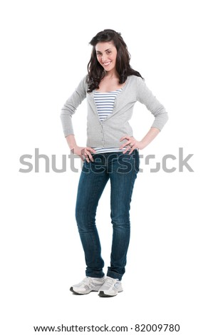Happy smiling young woman full length isolated on white background - stock photo