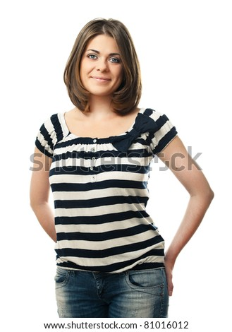 Happy smiling young woman. Isolated over white background - stock photo