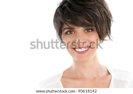 Happy smiling young woman looking at camera isolated on white background - stock photo