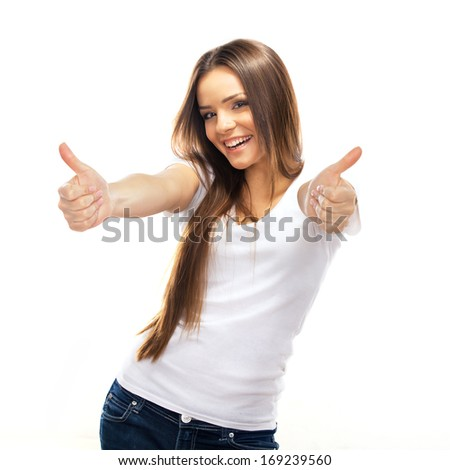 Happy smiling young woman with thumbs up gesture, isolated on white background - stock photo