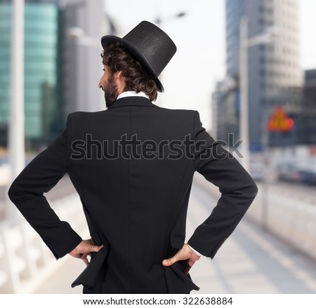 happy smoking man back pose - stock photo