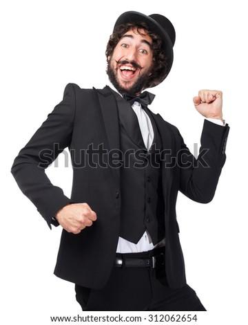 happy smoking man dancing - stock photo