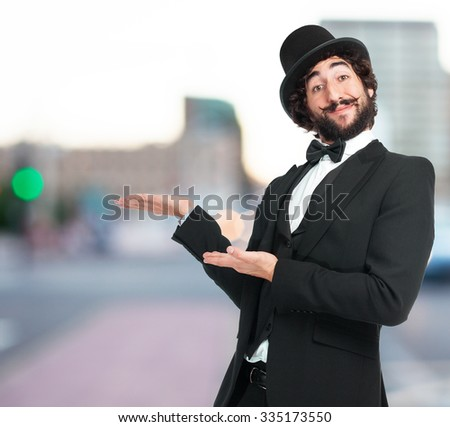 happy smoking man showing gesture - stock photo