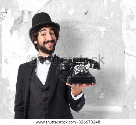 happy smoking man with telephone - stock photo