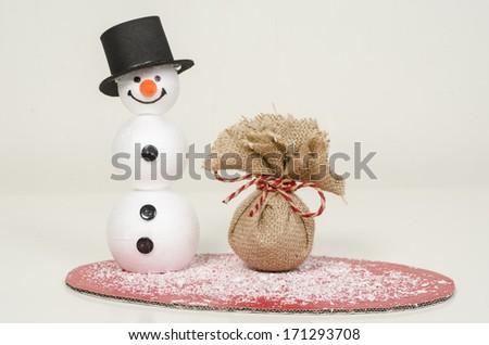 Happy snowman - stock photo