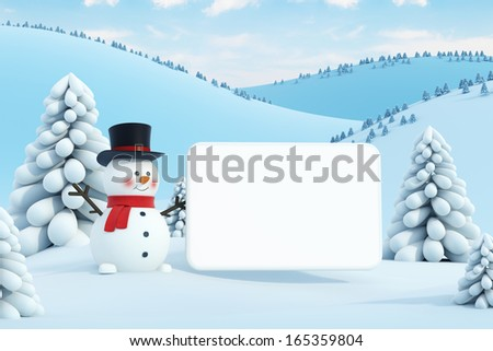 happy snowman and blank poster - stock photo