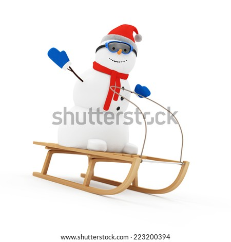 Happy Snowman Greeting on Wooden Sled isolated on white background - stock photo