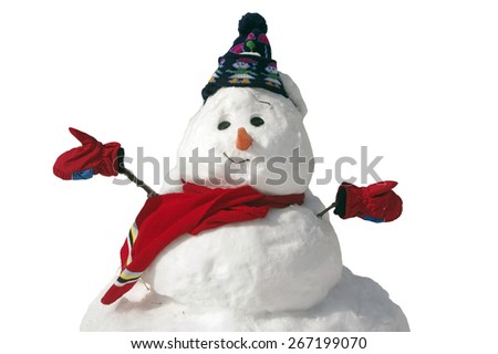 Happy snowman in mittens and hat and scarf - stock photo
