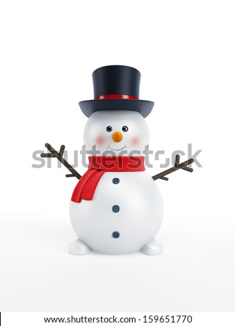 happy snowman isolated 3d rendering - stock photo