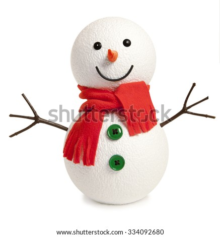Happy snowman isolated on white background - stock photo