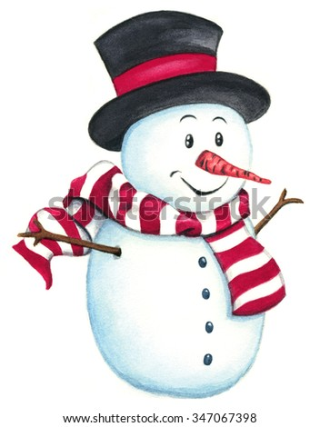 Happy snowman isolated on white background. Watercolor clip art illustration for your Christmas designs.