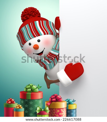happy snowman looking out the corner, stack of gift boxes, 3d illustration, winter Christmas holiday background - stock photo