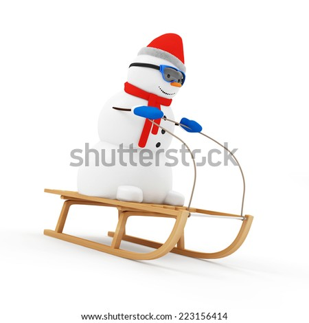 Happy Snowman on Wooden Sled isolated on white background - stock photo