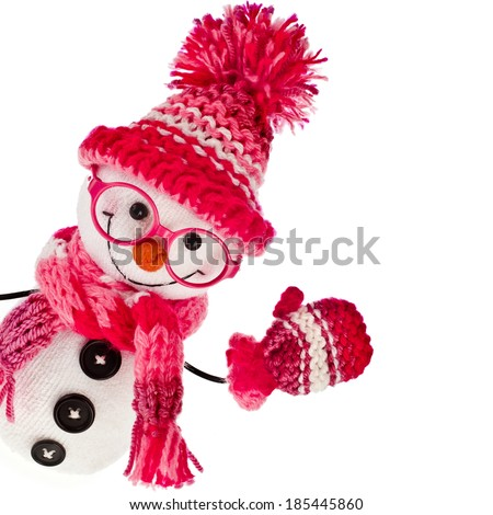 happy snowman spectacled in  knitted pink hat and scarf and mittens- isolated on white background - stock photo