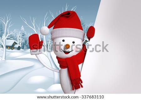 happy snowman waving hand, blank banner, winter landscape, Christmas background - stock photo