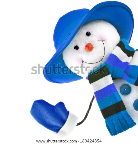 happy snowman with blue hat isolated on white background  - stock photo