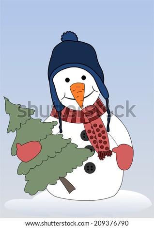 Happy snowman with christmas tree  - stock photo