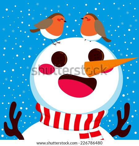 Happy snowman with his two robin birds friends together on his head on winter snowfall background - stock photo