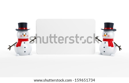 happy snowmans with blank poster - stock photo