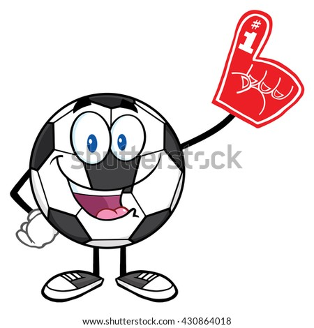 Happy Soccer Ball Cartoon Mascot Character Wearing A Foam Finger. Raster Illustration Isolated On White Background - stock photo