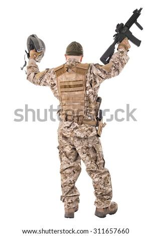 Happy soldier in uniform - stock photo