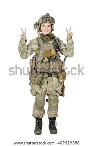 Happy soldier woman showing two fingers or victory gesture.image on a white studio background. lifestyle concept - stock photo