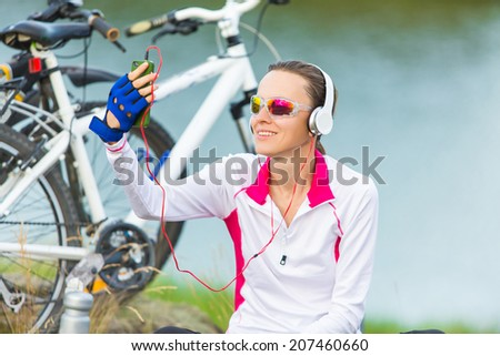 Happy sport girl  taking self picture - stock photo